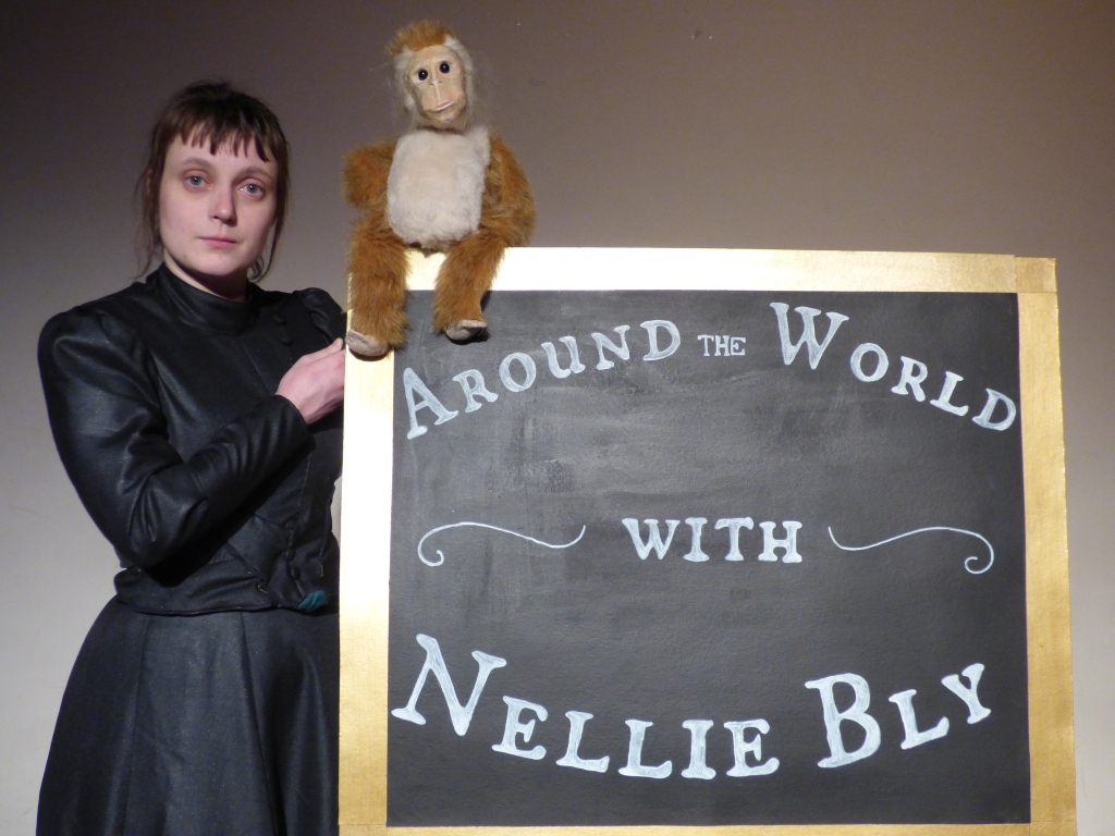A photo of Nellie Bly and McGinty the monkey - click to see more information about 'Around the World with Nellie Bly'
